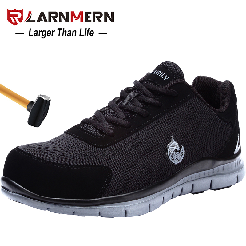 LARNMERN Men's Work Safety Shoes Steel Toe Lightweight Breathable Anti-smashing Non-slip Construction Protective Footwear