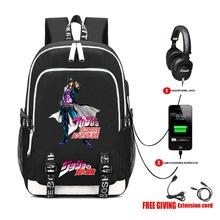 USB Charge wtyczka słuchawkowa nastolatki torby szkolne plecak na laptopa plecak na ramię anime JoJo #8217 s Bizarre Adventure Backpack tanie tanio MANQIFNG Oxford CN (pochodzenie) Tłoczenie Unisex Miękka 20-35 litr Wnętrze slot kieszeń Wewnętrzna kieszeń Wnętrza przedziału