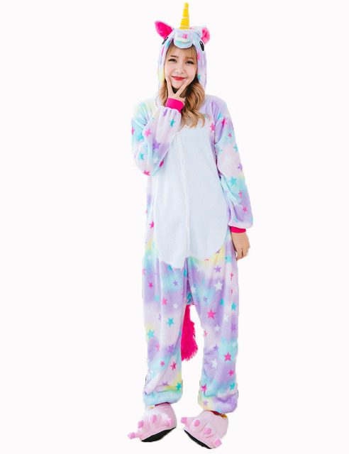 Animal Rainbow Unicorn Onesie Adult Unisex Halloween Costume Pajamas Sets  Sleepwear Winter Warm Nightie For Men Women 7af4567b3d59