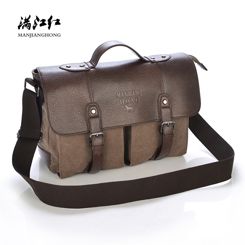 Vintage Retro Men Messenger Bags Canvas Crazy Horse Leather Shoulder Crossbody Bag Men Large Casual Male