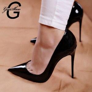 Image 1 - Sapatos mulher bombas de salto alto 12cm tacones apontou toe stilettos talon femme sexy senhoras sapatos de casamento saltos pretos tamanho grande