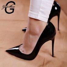 1e7b34417f9170 Schuhe Frau High Heels Pumps 12 cm Tacones Spitz Stilettos Talon Femme Sexy  Damen Hochzeit Schuhe