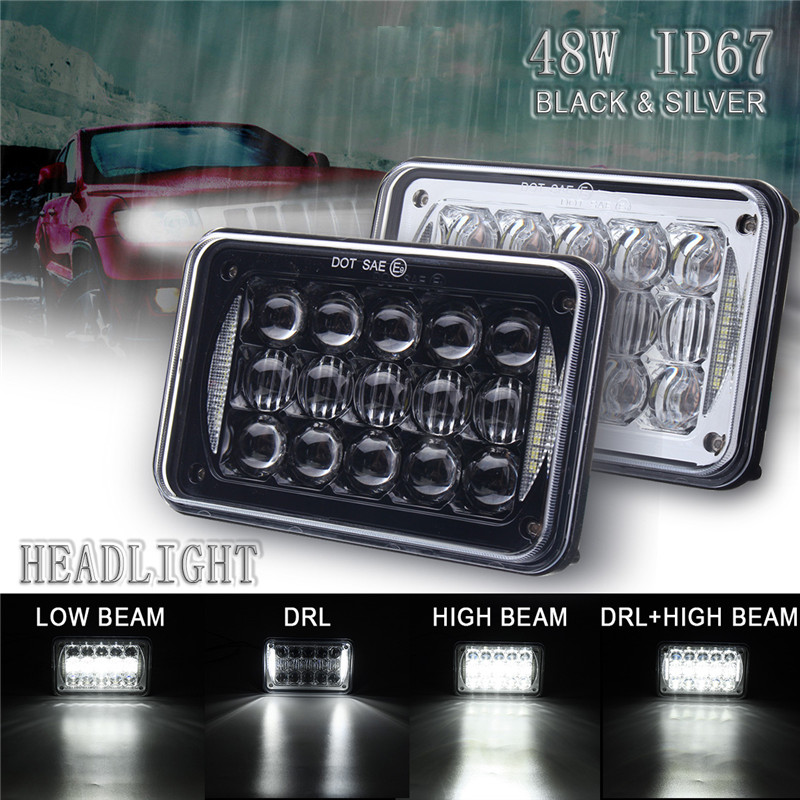 48W LED Headlight Lamp Bulb White Car Light DC12/24V 5D Hi/Low Beam Driving Lamp Headlamp Truck SUV Aluminum IP67