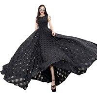 2018 Runway Lato Sundress Czarny Biały Długi Maxi Sukienka Kobiety Czeski Organza Suknie Bez Rękawów Big Swing Vestidos Mujer