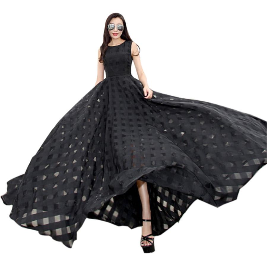 2018 Runway Summer Sundress Black White Long Maxi Dress -5086