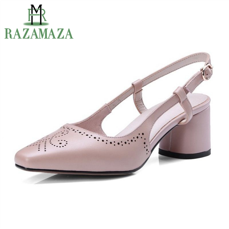 ZALAVOR Office Lady Real Genuine Leather High Heel Shoes Women Ankle Strap Hallow Out Thick Heel