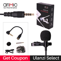 Arimic Portable Clip On Lapel Lavalier Hands Free 3 5mm Jack Condenser Wired Microphone Mic For