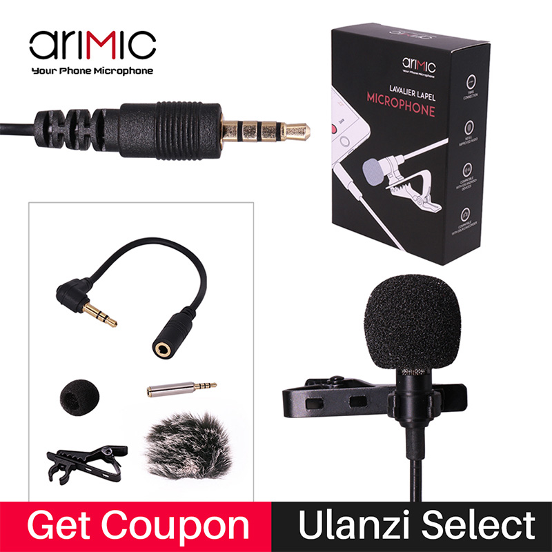 Ulanzi Lapel Lavalier Microphone Kit Clip-on Hands-free 3.5mm Jack Condenser Mic yaka mikrofonu for iPhone for interview Lecture