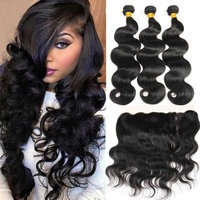 Indian Hair Body Wave 3 Bundles with Closure Yavida 100% Human Hair Bundles with Frontal Natural Color Non Remy Hair Extensions
