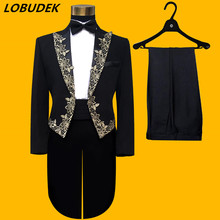 (jacket+trousers) suit set prom over national stage blazer wedding dress party formal outfit tuxedo male costume magic show