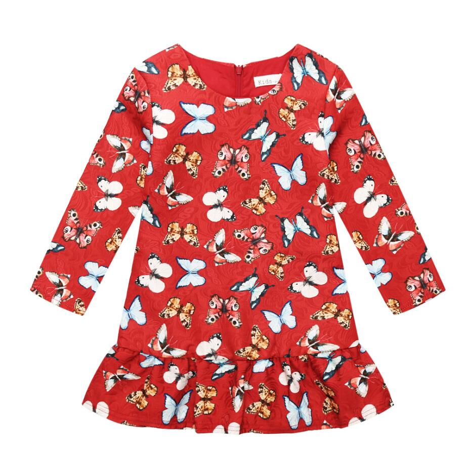 2017 Autumn Kids Girl Clothing Princess Butterflies Print Girls Dresses Junior Teenagers Party Dress Children Costume HB3016