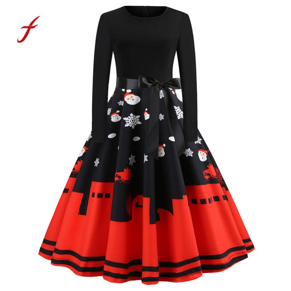 2019 new arrival dress Women's Vintage Print Long Sleeve Christmas Evening Party Swing Dress Slim soft touch dresses summer