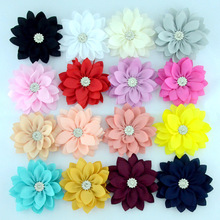 Yundfly 5pcs/lot 3.6 Lotus Chiffon Flowers With Button for Children Baby Headband Clips Diy Kids Girls Women Hair Accessories