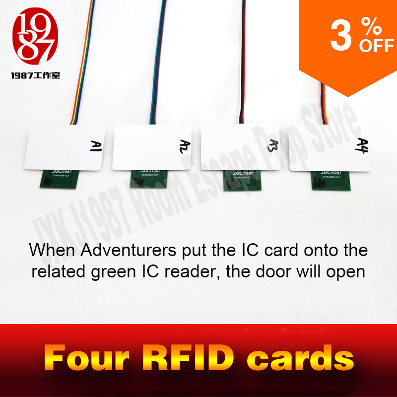 rfid prop room escape adventurer game prop four rfid prop put four ic cards in one to one relationship to unlock with audio(China)
