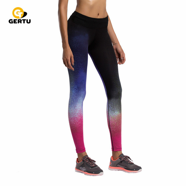 2017 New 5 style Gradient sky print sporting leggings  women fitness leggings high elastic legging GE0010