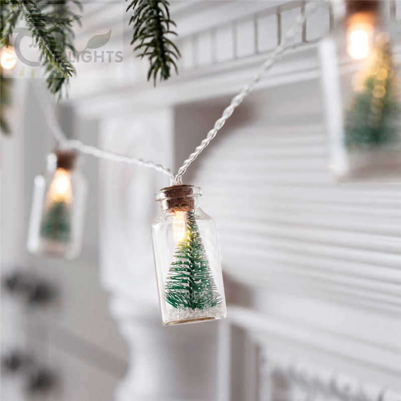 Christmas Tree Glass Jar Bottle String Lights With 20 LED Battery Operated For Wedding Party Fairy Lights Christmas Deocration