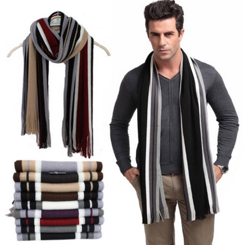 Winter designer scarf men striped cotton scarf female & male brand shawl wrap knit cashmere bufandas Striped scarf with tassels(China)