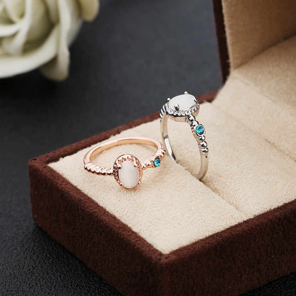 2019 New Elegant White Opal Ring Fashion CZ Wedding Jewelry Rose Gold Silver Filled Engagement Promise Rings for Women anillos
