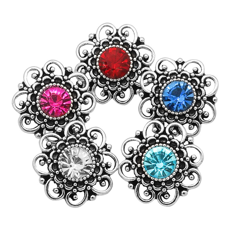 New KZ3164 Beauty Rhinestone Hollow Flowers 20MM Snap Buttons Fit 18mm Snap Jewelry Wholesale