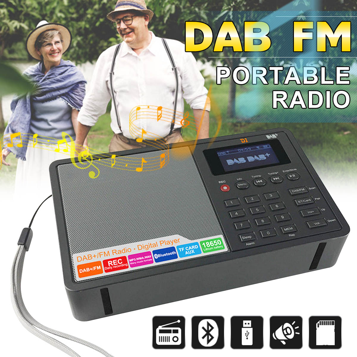 Portable DAB/DAB+ FM Bluetooth4.0 1.8 Inch TFT Screen LCD Digital Radio Music Speaker MP3 USB Alarm Clock Digital Support RDS gtmedia dr 103b dab bluetooth receiver portable digital dab fm stereo radio receptor with 2 4 inch tft color display alarm clock