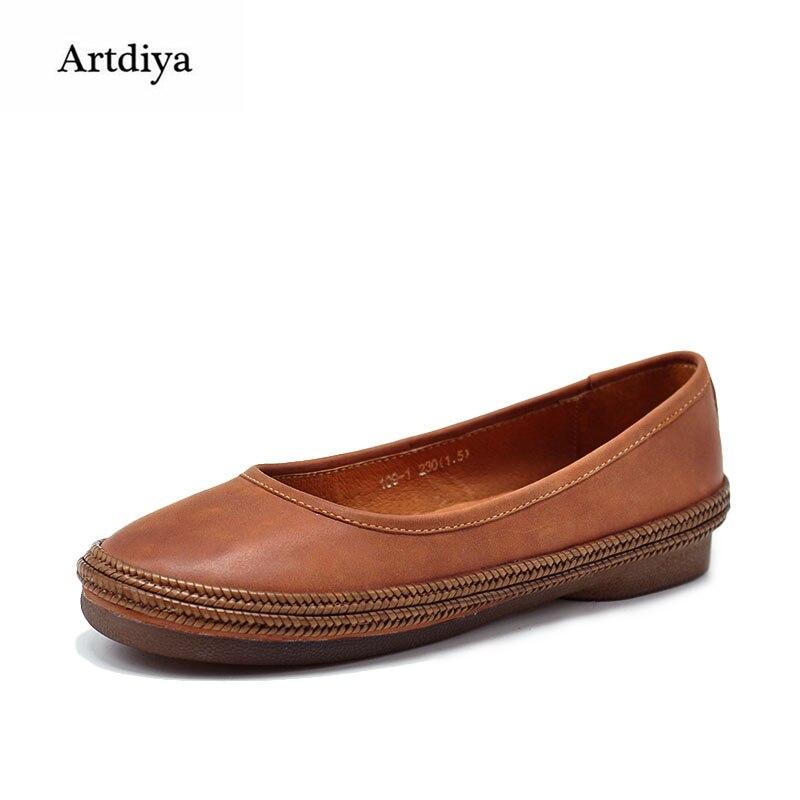 Artdiya Original Retro Literature Handmade Leather Shoes Shallow Mouth Soft Sole Female Shoes Flat Moccasin-gommino 109-1