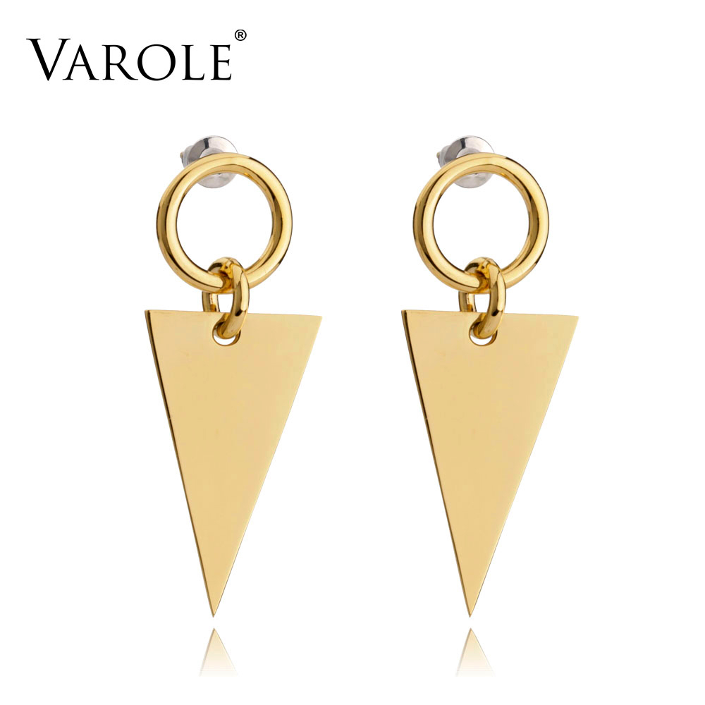 VAROLE Unique Triangle Jacket Earrings Black Drop Earring Rose Gold Color Earings Stainless Steel Earrings For Women Jewelry triangle round drop earrings