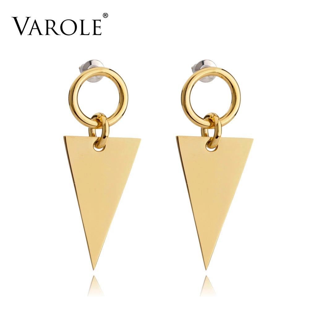 VAROLE Unique Triangle Jacket Earrings Black Drop Earring Rose Gold Color Earings Stainless Steel Earrings For Women Jewelry