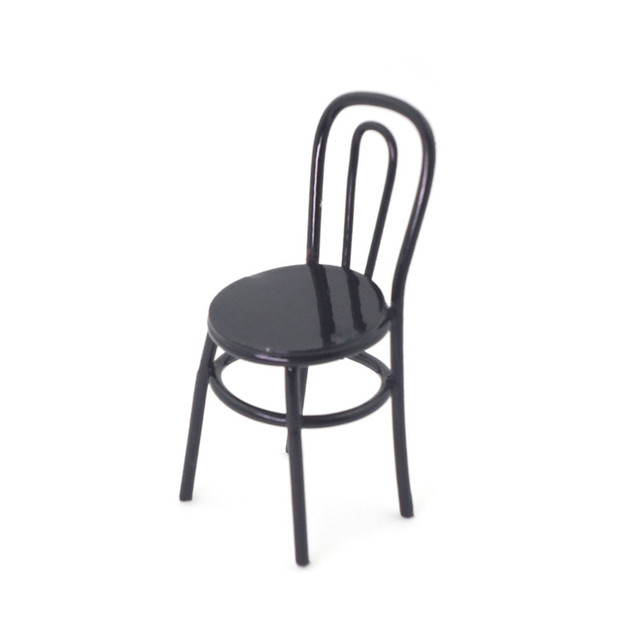 Perfect 1/12 Black Red 2 Colors Alloy Metal Chair Shape Miniature Toy Handmade  Lifelik Mini