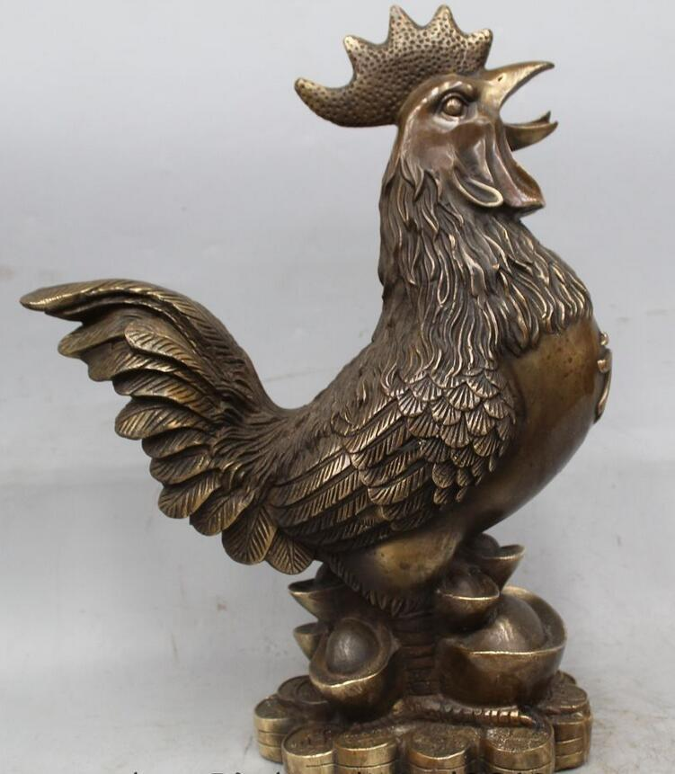wang6711181646++15 Chinese Brass Wealth Feng Shui Zodiac Year Rooster Cock sculpture Statuewang6711181646++15 Chinese Brass Wealth Feng Shui Zodiac Year Rooster Cock sculpture Statue