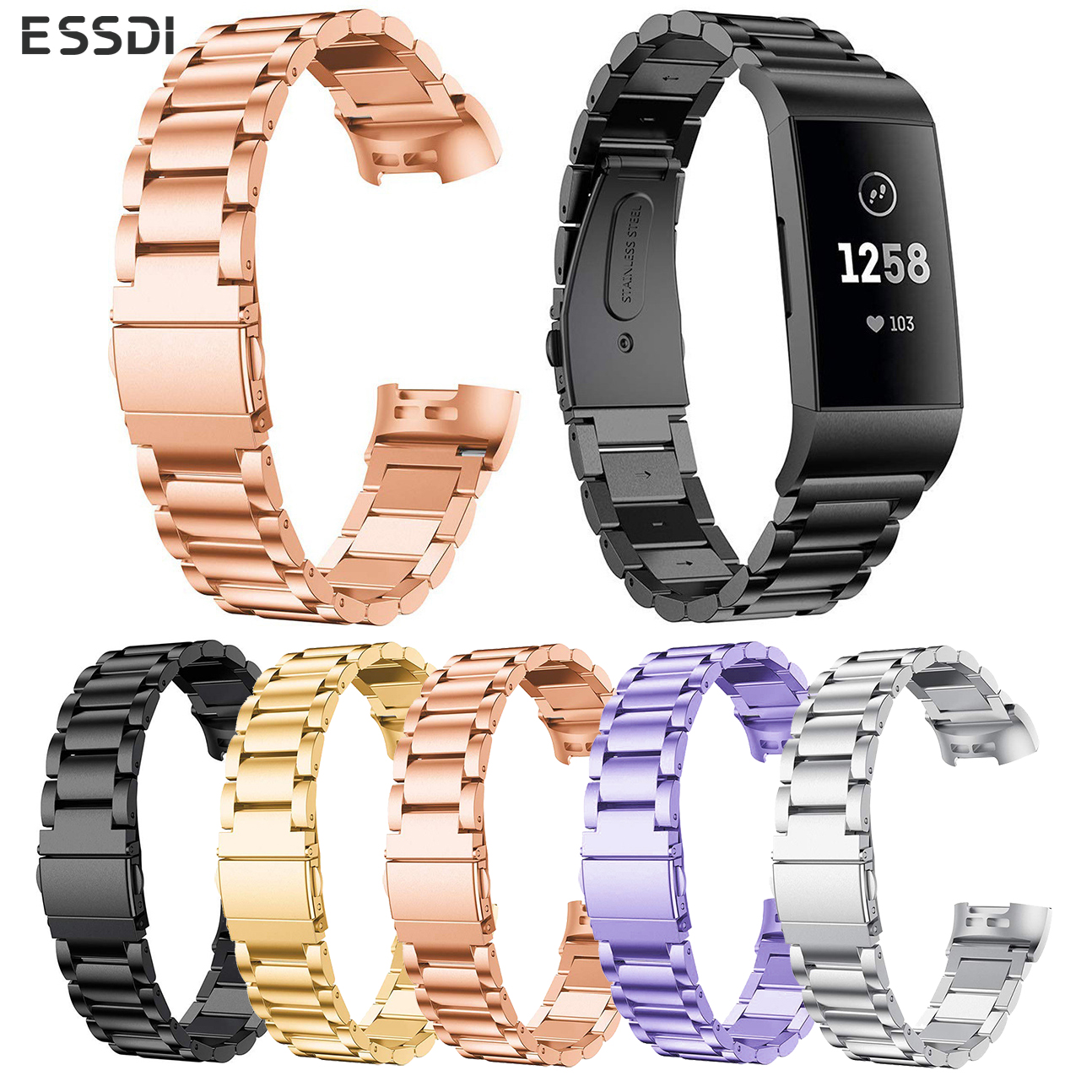 Essidi Stainless Steel Bracelet Strap For Fitbit Charge 3 Smart Wristband Loop Replacement For Charge 3 Fitness Band Metal Strap