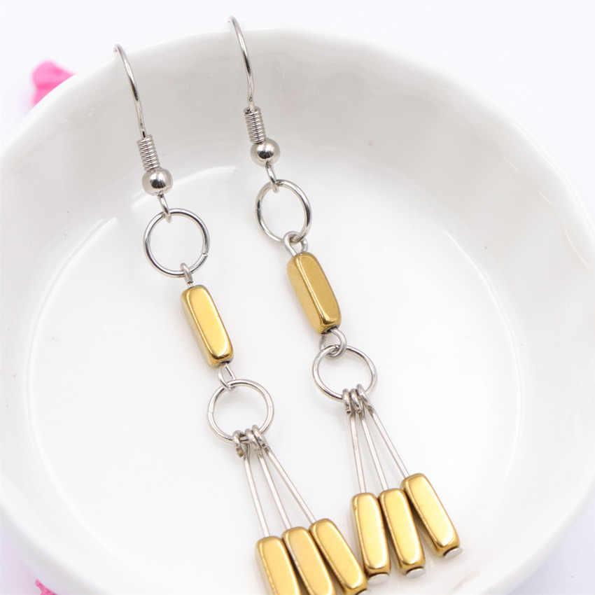 Style bohème gland boucle d'oreille couleur or pierre naturelle hématite longue goutte Dangle boucles d'oreilles pour femmes charmes Eardrop bijoux A707