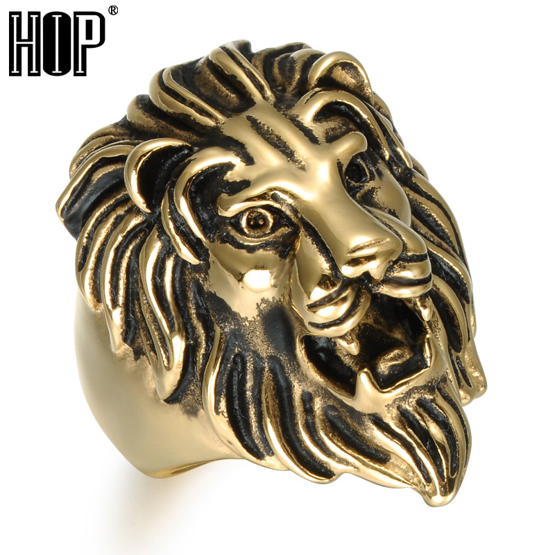 itm image size vintage mens stainless rings lion plated head steel ring gold