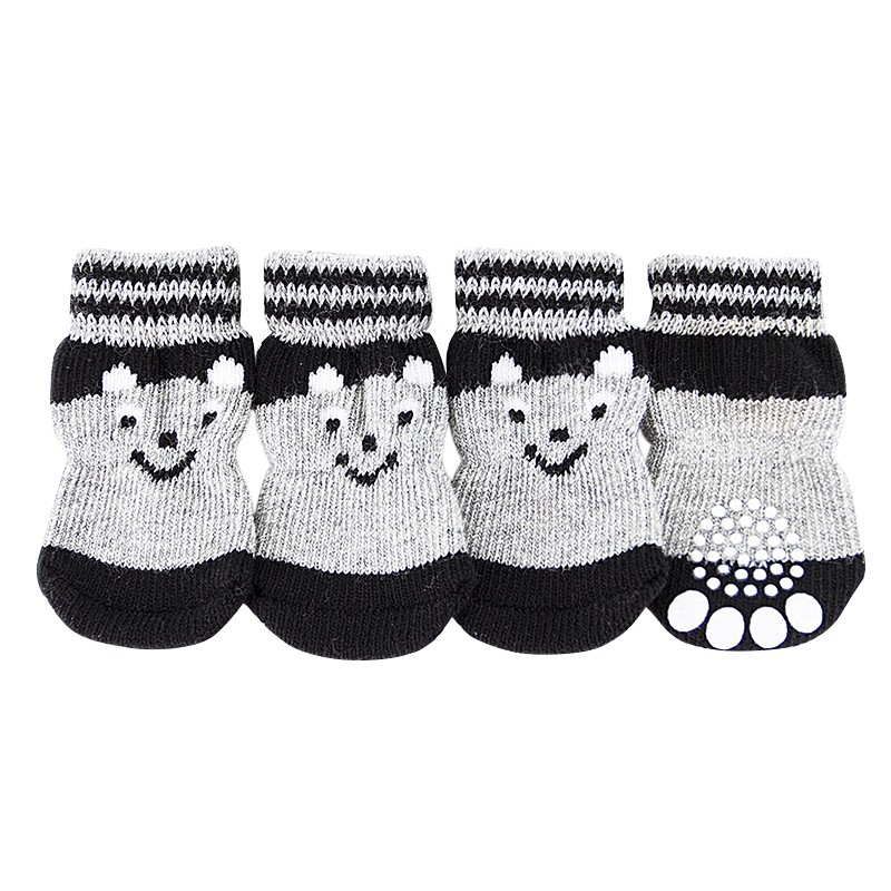 4 Pcs Lovely Pet Puppy Soft Warm Socks Boots Winter Canvas Dog Shoes Small Dogs S-XL