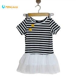 1-4 anos de idade Meninas Vestidos Top Quality listras Pretas e brancas de Manga Curta Flor Vestido Crianças Menina todos os jogo vestido de princesa