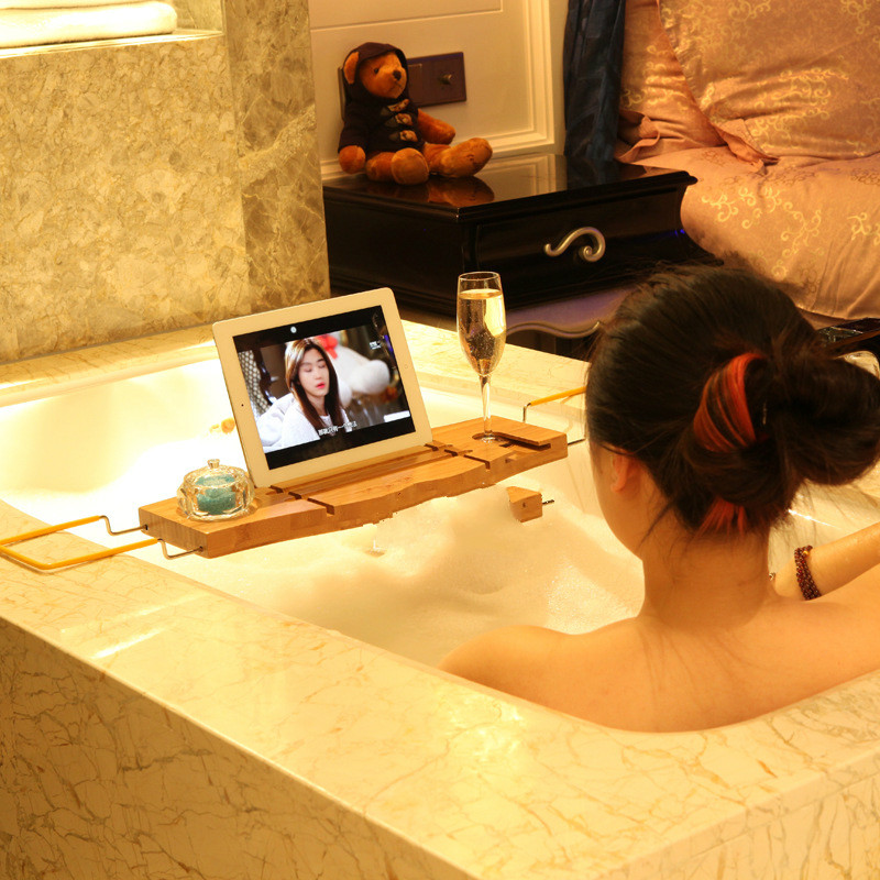Bamboo Telescopic Bathtub Frame Bathroom Accessories