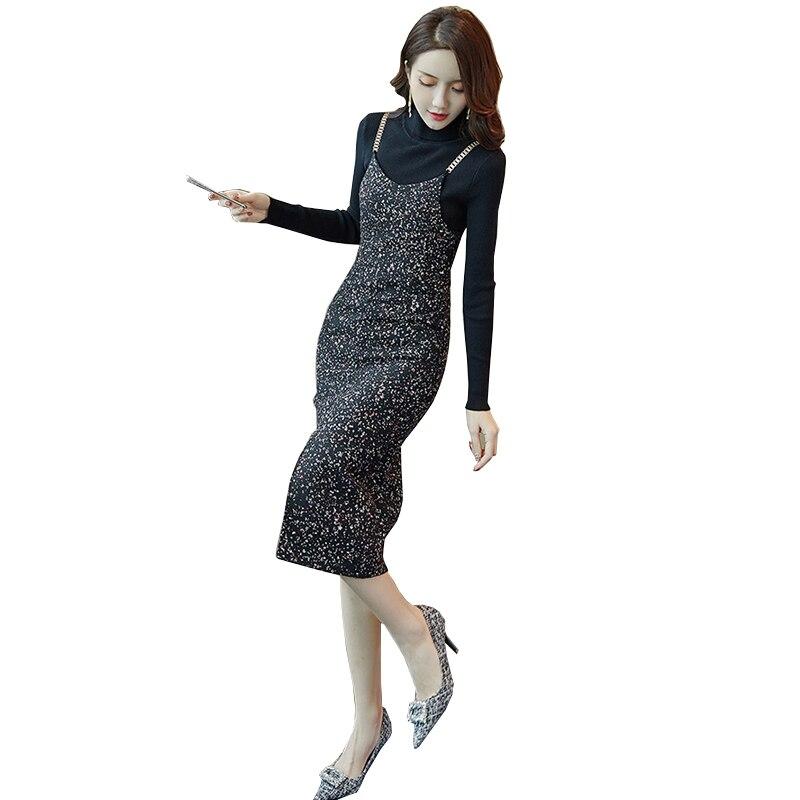 Automne et d'hiver sangle robe deux-pièce d'hiver Un mot robe d'hiver femmes costume Tricoté chandails mince de laine robes LU617