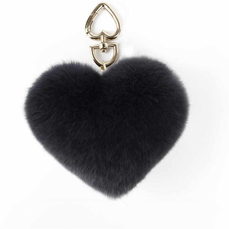 Keychain Pom Coração-Em Forma de moda de Nova Coelho Fofo Cabelo Do Coelho de Prata Chaveiro Carro Senhoras Saco Do Telefone Pingente.