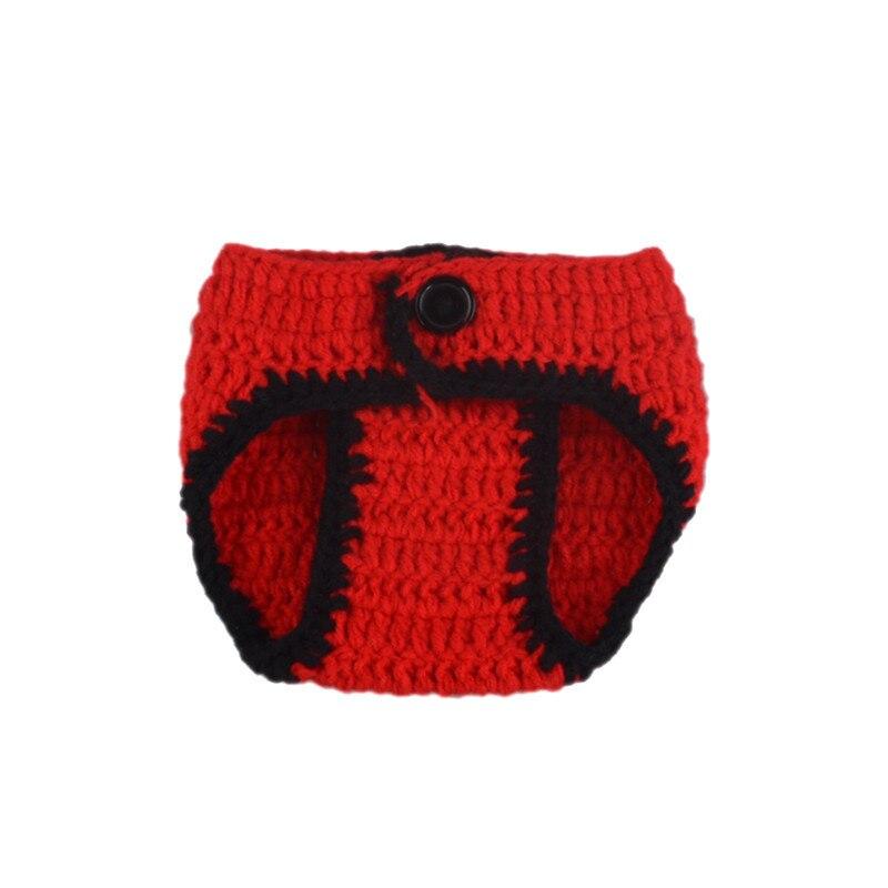 Crochet Baby Boys Deadpool Photo Prop Knitted Newborn Hat Diaper Set