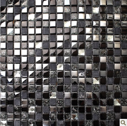 Black Mosaic Tiles Crystal Gl Mixed Stone And Stainless Steel