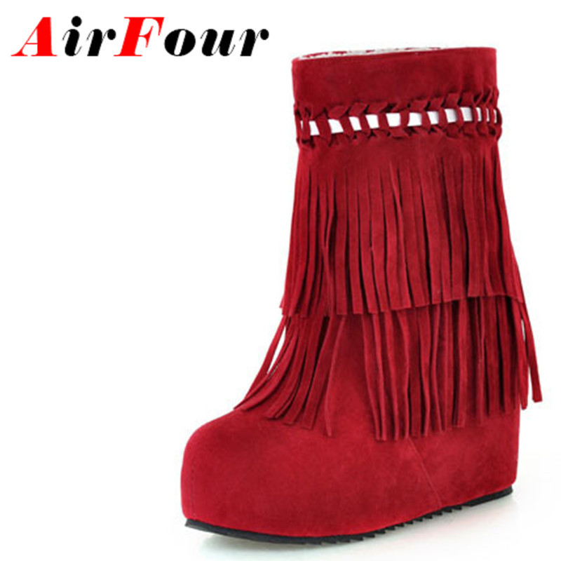ФОТО Airfour Fashion Women Boots wedges boots 2ayer Tassels snow Ankle Boot Hot Selling new winter boots new student shoes women