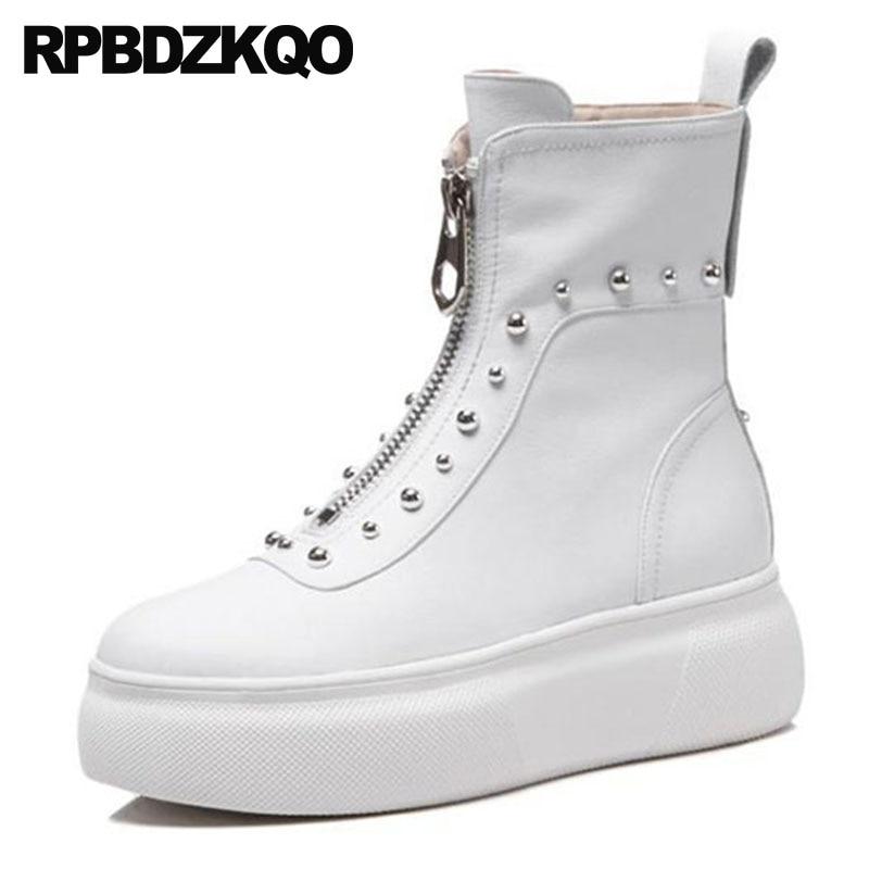 Flatform Metal Genuine Leather Platform Shoes Flat Stud Size 4 Harajuku Muffin Ankle White Women High Heel Punk Rock Boots Rivet