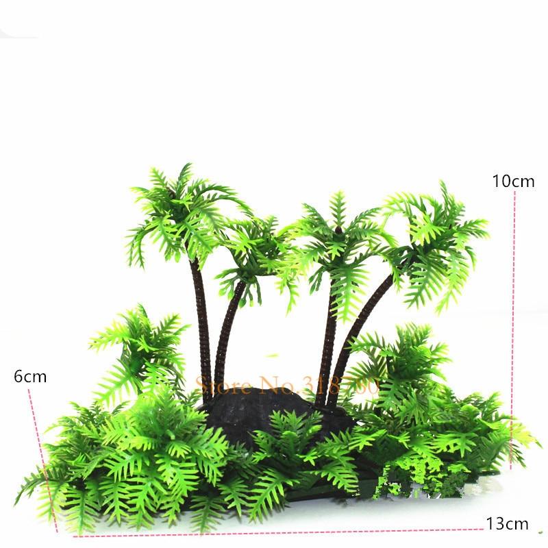 1 Unid Plantas De Acuario Artificiales De Plástico De Coco Palmeras Ornamento Fish Tank Plants Decoración