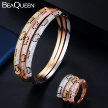 BeaQueen Round Fashion AAA Cubic Zirconia Micro Pave Black CZ Stone Snake Circle Bracelets Bangles Ring Sets Women Jewelry JS192 beaqueen twinkling cubic zirconia stone lovely star earrings necklace cz crystal starfish women fashion party jewelry sets js119