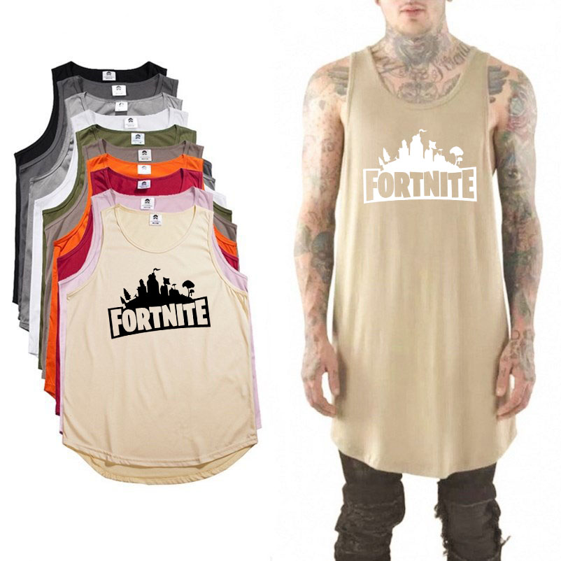 Fashion Hip hop streetwear fortnite tank top Extended arc hem Summer tank top men bodybuilding sleeveless shirt