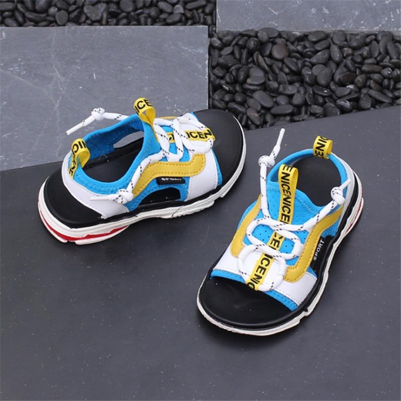Genuine Leather Boy Sandals 2018 New Childrens Beach Shoes Korean Non-slip Soft Sandals Fashion Child Summer Kids Shoes 21-30