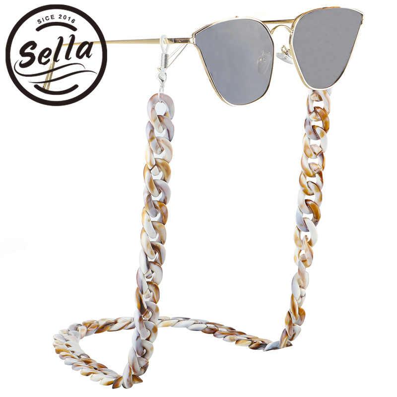 31a857c42 Sella Retro Simple acrílico gafas de sol cadena correa de leopardo de moda  de plástico PVC