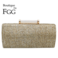 Boutique De FGG Fashion Straw Women Clutches Purses and Handbags Small Evening Clutch Bag Ladies Chain Shoulder & Crossbody Bags