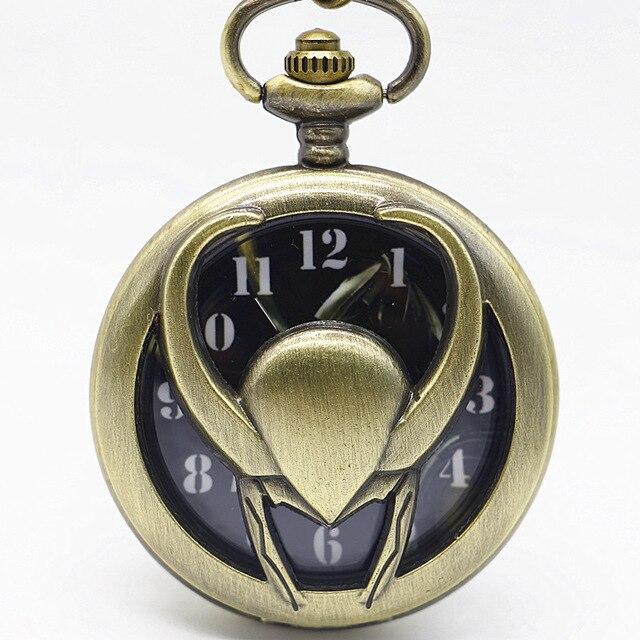 Bronze Vintage Pendant Pocket Watch Relogio LOki De Bolso Quartz Watch With Necklace Chain TD2074