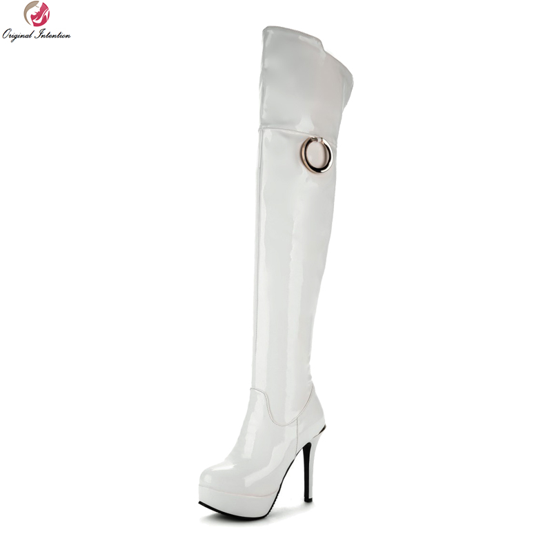 Original Intention Stylish Women Over-the-Knee Boots Round Toe Thin Heels Boots Black White Red Shoes Woman Plus US Size 4-16 hot sale new arrival winter black pu zip women boots round toe thin heels over the knee shoes woman n2067