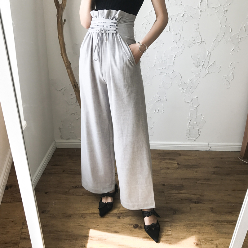 BGTEEVER Solid High Waisted Bandage   Wide     Leg     Pants   for Women Trousers Casual Bottoms Pantalones Mujer 2018
